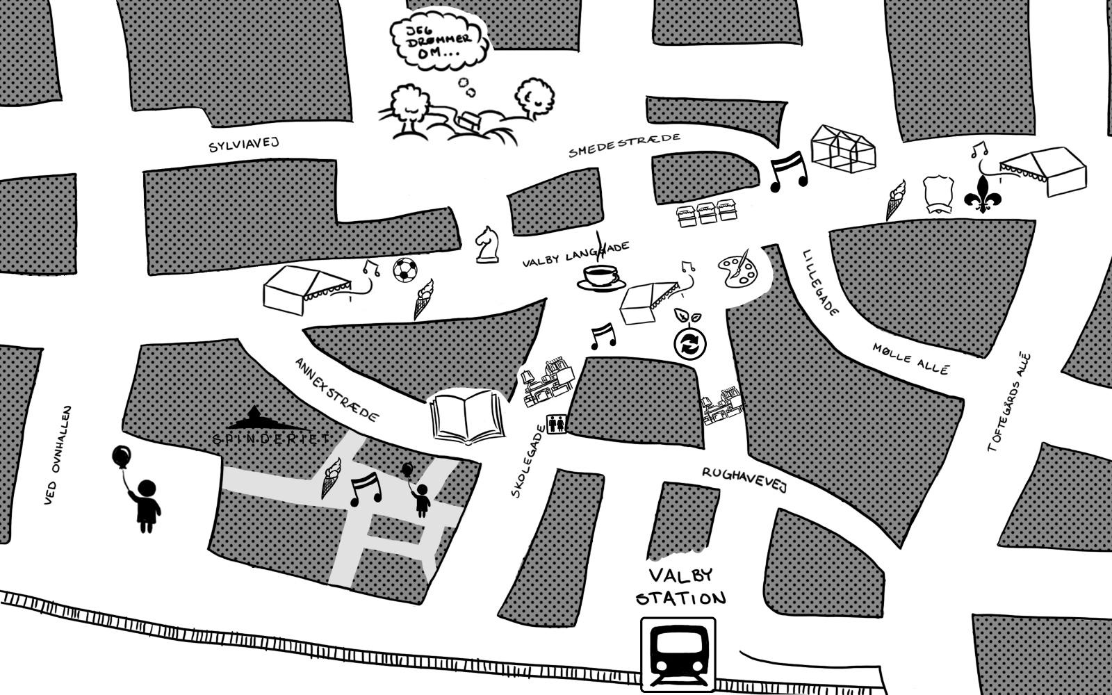 Kort over Valby Kulturdage område til Valbybladet