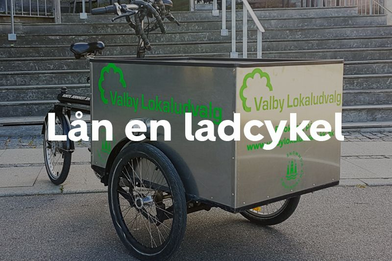 Lån en ladcykel Valby Lokaludvalg knap forsiden