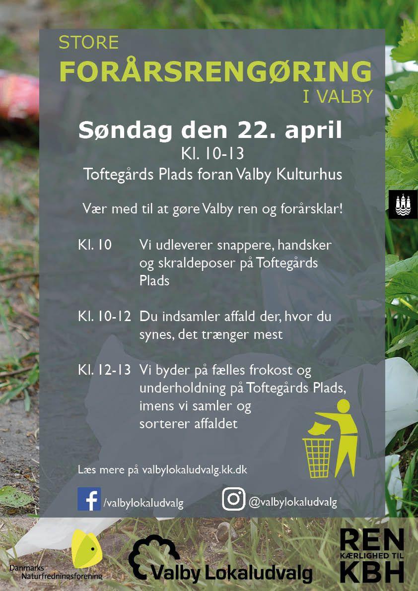 Store Forårsrengøring Valby plakat 2018