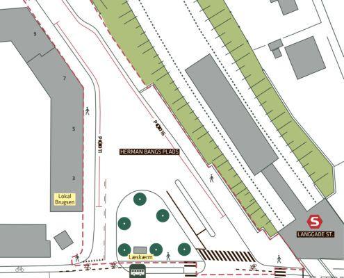 Herman Bangs Plads oversigt nuværende Valby