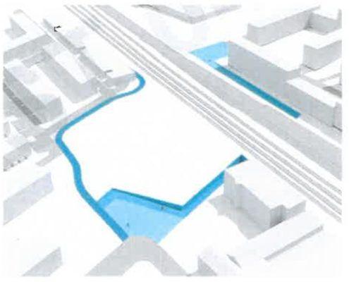 Illustration løsning 4 tunnel stiforbindelse Grønttorvet Valby