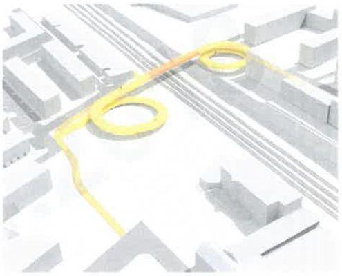 Løsning 3 bro fra screening af stiforbindelse Grønttorvet Valby