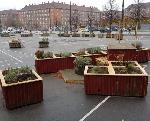 Solterrasse plantekasser Toftegårds Plads Valby