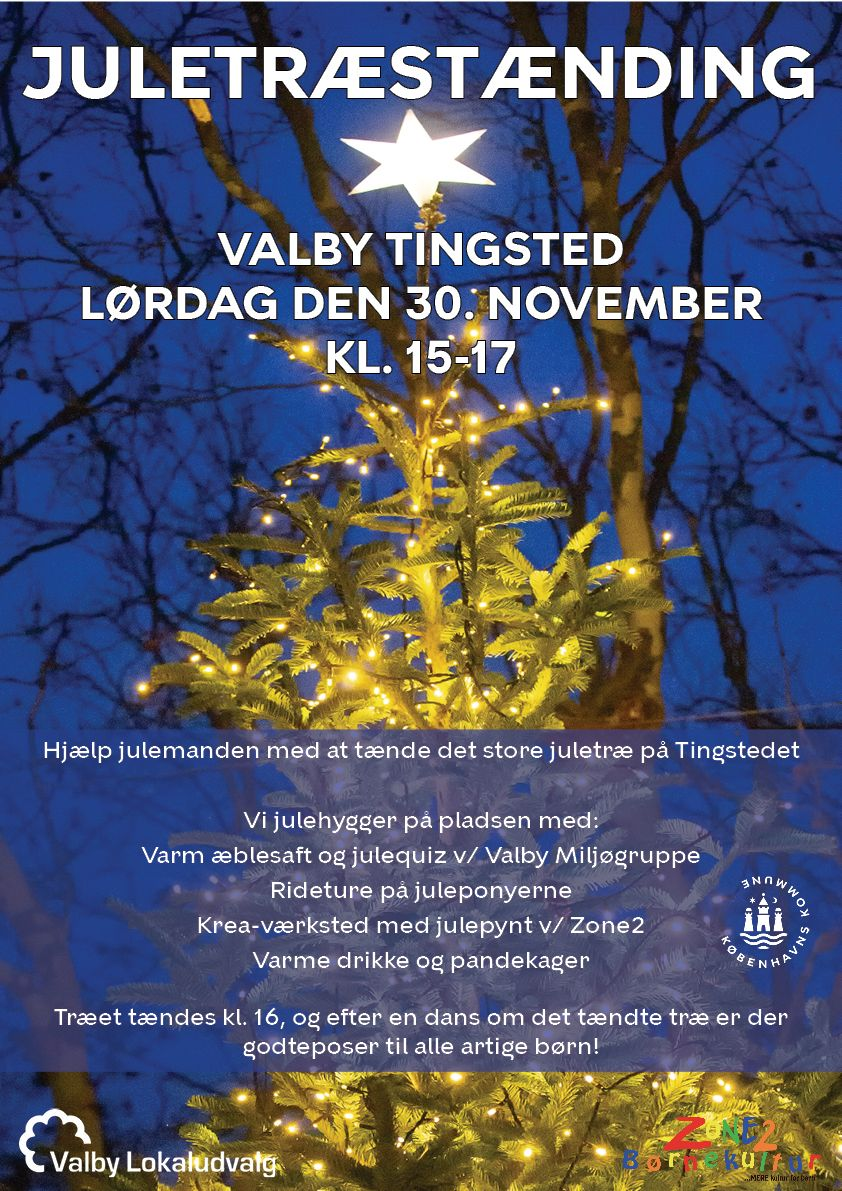 Plakat juletræstænding Valby Tingsted 2019