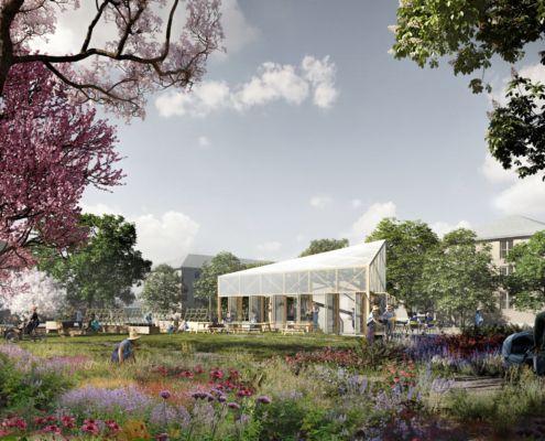 Skitseprojekt for det centrale byrum i Folehavekvarteret_HAVEN_Orangeri