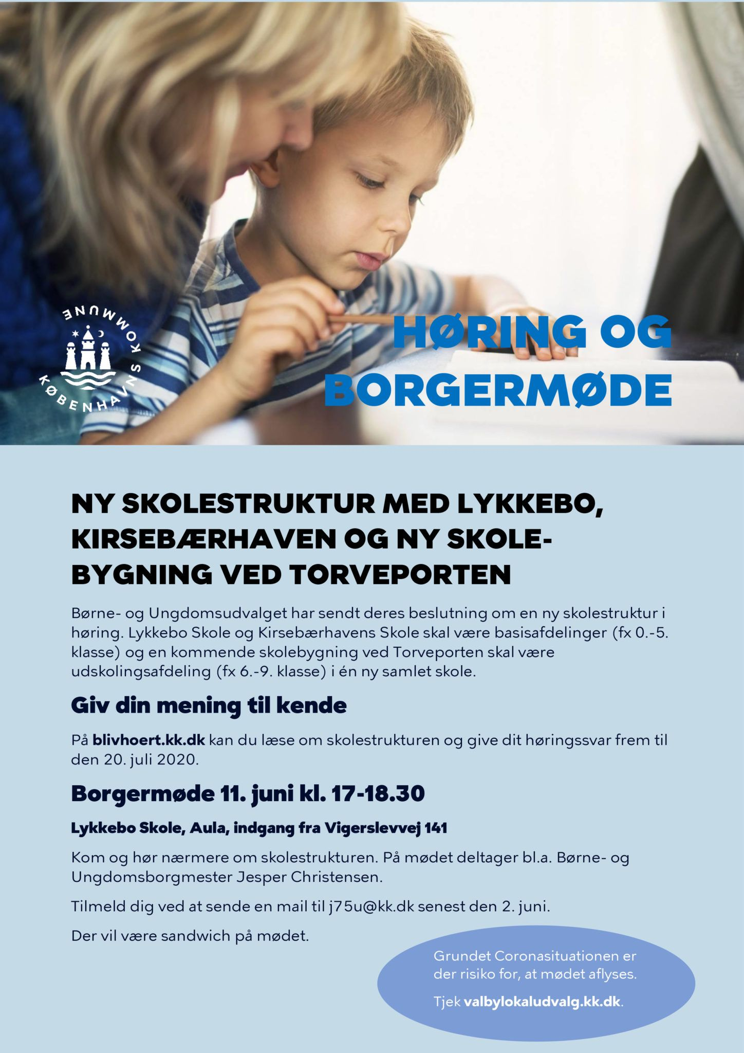 Opslag - høring og borgemøde ny skolestruktur i Valby
