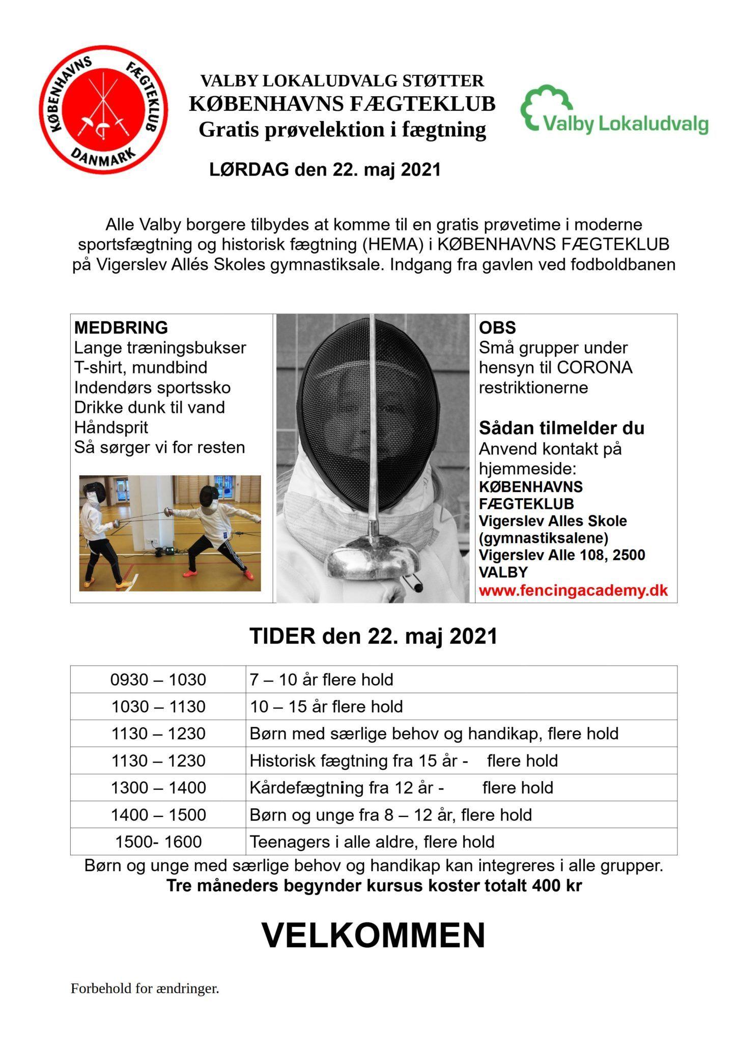 Åbent Hus 22 maj 2021 Københavns fægteklub