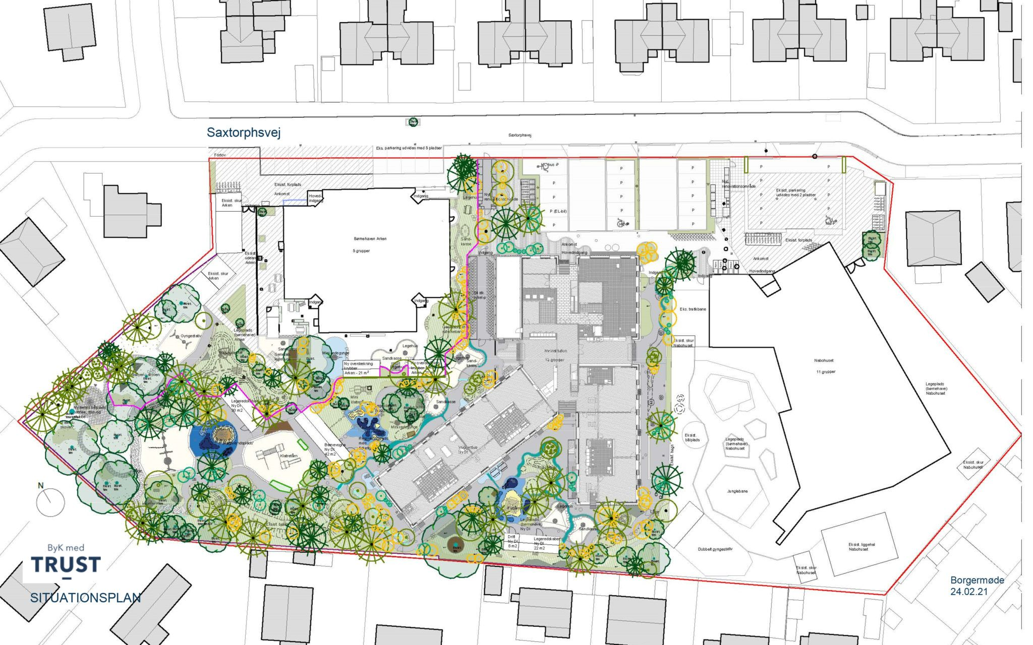 Situationsplan lokalplanforslag Saxtorphsvej II