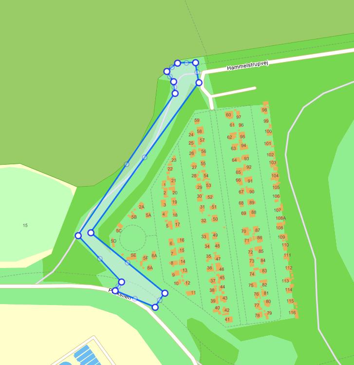 Kort over placering af blomstereng i Valbyparken