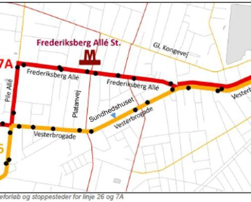 Linje 26 og 7A forelåset rute