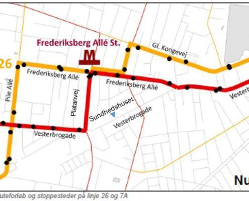 Linje 26 og 7A nuværende rute